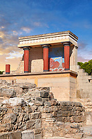 Minoan of the North Entrance Propylaeum with its painted charging  bull releif,  Knossos Palace archaeological site, Crete. At sunset.