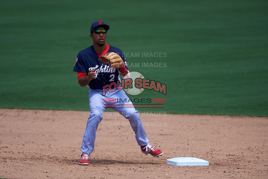 Reading Fightin Phils shortstop J.P. Crawford (2) waits for a throw during a game against the Bowie Baysox on July 22, 2015 at Prince George's Stadium in Bowie, Maryland.  Bowie defeated Reading 6-4.  (Mike Janes/Four Seam Images)