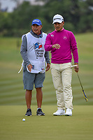 Fabian Gomez (ARG) lines up his putt on 10 during Round 2 of the Valero Texas Open, AT&T Oaks Course, TPC San Antonio, San Antonio, Texas, USA. 4/20/2018.<br /> Picture: Golffile | Ken Murray<br /> <br /> <br /> All photo usage must carry mandatory copyright credit (© Golffile | Ken Murray)