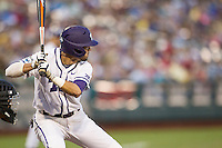 TCU Horned Frogs outfielder Dane Steinhagen (10) at bat during the NCAA College baseball World Series against the Vanderbilt Commodores on June 16, 2015 at TD Ameritrade Park in Omaha, Nebraska. Vanderbilt defeated TCU 1-0. (Andrew Woolley/Four Seam Images)