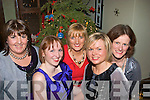 -6597-6601.---------.Santa's girls.-------------.L-R Mary Brosnan,Sinead Kennelly,Emer Thomson,AnnaMaria Greaney and Joan Murphy were just 5 of the over 90 strong Staff from Tralee IT who stuffed into Gally's bar/restaurant,Castlemaine Rd Tralee last Friday night for their Christmas party.