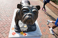 Union Bully statue with fall leaves.<br />   (photo by Megan Bean / &copy; Mississippi State University)