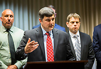 NWA Democrat-Gazette/JASON IVESTER<br /> Kenneth Elser, U.S. Attorney for the Western District of Arkansas, speaks Thursday, May 25, 2017, at the Rogers Police Department during a news conference addressing the sentencing of Larry Jesus Navarete, 35, of Los Angeles. Navarete was sentenced on Wednesday to 20 years in federal prison.