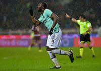 23rd November 2019; Olympic Grande Torino Stadium, Turin, Piedmont, Italy; Serie A Football, Torino versus Inter Milan; Romelu Lukaku of Inter Milan celebrates after scoring the goal for 3-0 for Inter in the 55th minute - Editorial Use