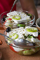 Greek salad. Rakokazano restaurant in Strantza village Naoussa. Macedonia, Greece.