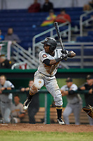 West Virginia Black Bears second baseman Melvin Jimenez (7) at bat during a game against the Batavia Muckdogs on June 18, 2018 at Dwyer Stadium in Batavia, New York.  Batavia defeated West Virginia 9-6.  (Mike Janes/Four Seam Images)