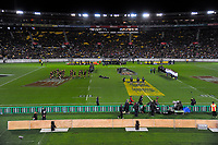 A general view as the All Blacks prepare to peform a haka during the Steinlager Series international rugby match between the New Zealand All Blacks and France at Westpac Stadium in Wellington, New Zealand on Saturday, 16 June 2018. Photo: Dave Lintott / lintottphoto.co.nz