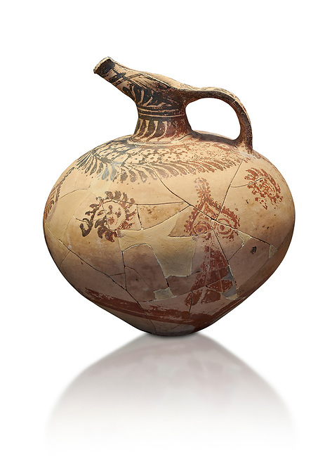 Mycenaean clay jug with ornate decoration of vegetal motifs, Tholos tomb 2 , Myrsinochori, Messenia, 15th cent BC. National Archaeological Museum Athens. Cat No 8375. White Background.