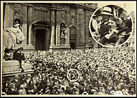 BNPS.co.uk (01202 558833)<br /> Pic: ChalkwellAuctions/BNPS<br /> <br /> This picture claims to show Hitler at a 1914 rally in Munich at the start of the First war, and was a key element in his post war popularity.<br /> <br /> Found in a cardboard box...a meticulous account ofthe pre war rise of the cult of Hitler.<br /> <br /> An incredible picture archive that charts the rise of Hitler believed to have been meticulously documented by a fan of the Fuhrer has emerged for sale.<br /> <br /> The collection of propaganda photographs show Adolf Hitler on a charm offensive in the 1920s and 30s - before the evil dictator started the Second World War and eliminated at least five million Jews in the Holocaust.<br /> <br /> Some of the images try to show a softer side to the Nazi leader, with him feeding a small deer and accepting a bouquet from a young girl.<br /> <br /> Others chillingly show the hype created around him - rows of people performing the straight-arm Nazi salute, a young boy beaming as Hitler signs an autograph for him and a group of girls giggling as they chat to the party leader.