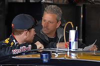 Mar 30, 2007; Martinsville, VA, USA; Nascar Nextel Cup Series driver Brian Vickers (83) with crew chief Doug Richert during practice for the Goody's Cool Orange 500 at Martinsville Speedway. Martinsville marks the second race for the new car of tomorrow. Mandatory Credit: Mark J. Rebilas