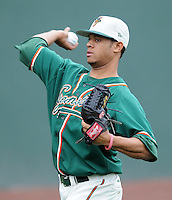 April 19, 2009: RHP Jose Rosario (26) of the Greensboro Grasshoppers, Class A affiliate of the Florida Marlins, in a game against the Greenville Drive at Fluor Field at the West End in Greenville, S.C. Photo by: Tom Priddy/Four Seam Images
