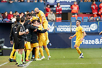 Eddy Silvestre (midfield; AD Alcorcón) celebrates the goal  during the Spanish football of La Liga 123, match between CA Osasuna and AD Alcorcón at the Sadar stadium, in Pamplona (Navarra), Spain, on Sanday, December 16, 2018.