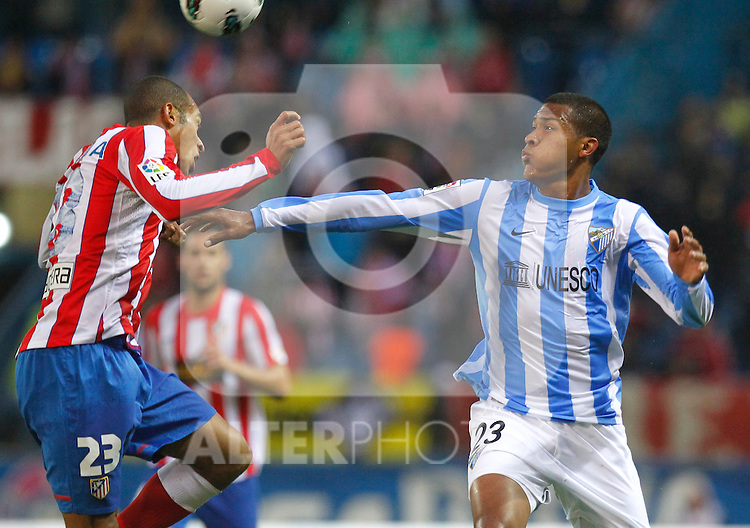 Madrid (05/05/2012).- Estadio Vicente Calderon..Liga BBVA.Atletico de madrid - Malaga Club de Futbol..Miranda, Rondon...Photo: Alex Cid-Fuentes / ALFAQUI..