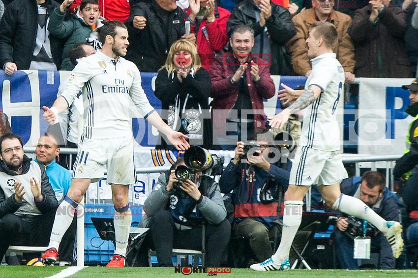 Garet Bale of Real Madrid celebrates after scoring a goal during the match of La Liga between Real Madrid and RCE Espanyol at Santiago Bernabeu  Stadium  in Madrid , Spain. February 18, 2016. (ALTERPHOTOS/Rodrigo Jimenez) /Nortephoto.com
