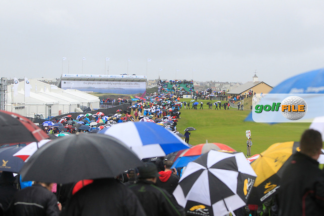 Umbrellas everywhere during round 3 of the Irish Open at Royal Portrush GC,Portrush,County Antrim,Ireland. 30/6/12.Picture Fran Caffrey www.golffile.ie