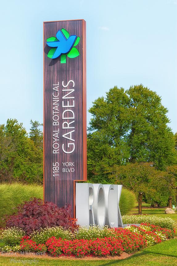 Royal Botanical Gardens, ROCK garden sign in Hamilton.