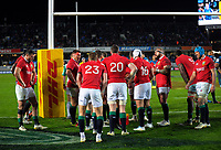The Lions team huddles after Ihaia West's try during the 2017 DHL Lions Series rugby union match between the Blues and British & Irish Lions at Eden Park in Auckland, New Zealand on Wednesday, 7 June 2017. Photo: Dave Lintott / lintottphoto.co.nz