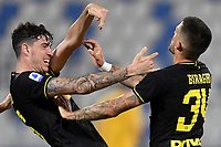 Cristiano Biraghi of FC Internazionale (R) celebrates with Alessandro Bastoni after scoring the goal of 0-3 during the Serie A football match between SPAL and Internazionale FC at Paolo Mazza stadium in Ferrara ( Italy ), July 16th, 2020. Play resumes behind closed doors following the outbreak of the coronavirus disease. Photo Andrea Staccioli / Insidefoto