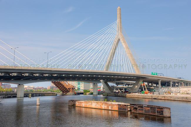 The Leonard P. Zakim Bunker Hill Memorial Bridge carrying I-93 and US Route 1 traffic over the Charles River in Boston, Massachusetts
