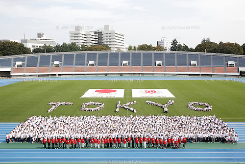 Commemorative photo session, OCTOBER 11, 2014 : Memorial event of 1964 Tokyo Olympic and Paralympic 50 years memorial week is held at Komazawa athletics stadium, Tokyo, Japan. (Photo by AFLO SPORT) [1180]