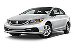 Stock pictures of low aggressive front three quarter view of a 2015 Honda Civic Sedan NGV 2 Door  Low Aggressive