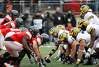 Ohio State Buckeyes lines up with Michigan Wolverines near the goal line before the fumble during the second half of the NCAA football game between the Ohio State Buckeyes and the Michigan Wolverines at Ohio Stadium on Saturday, November 26, 2016. (Columbus Dispatch photo by Jonathan Quilter)