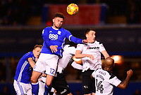 Harlee Dean of Birmingham wins a header during the Sky Bet Championship match between Birmingham City and Derby County at St Andrews, Birmingham, England on 13 January 2018. Photo by Bradley Collyer / PRiME Media Images.