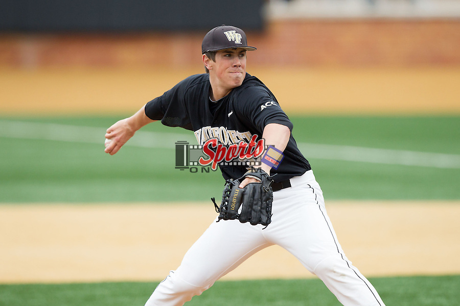 Wake Forest Demon Deacons relief pitcher Parker Dunshee (36) in action against the Florida State Seminoles at Wake Forest Baseball Park on April 19, 2014 in Winston-Salem, North Carolina.  The Seminoles defeated the Demon Deacons 4-3 in 13 innings.  (Brian Westerholt/Sports On Film)