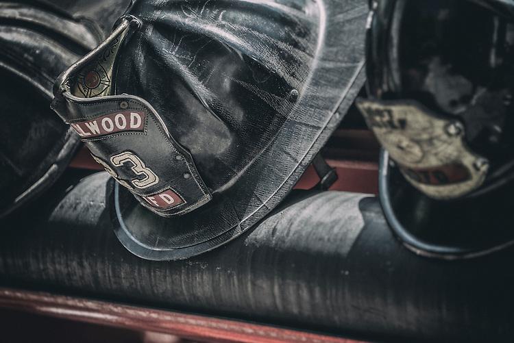 Close up of black USA fireman helmet