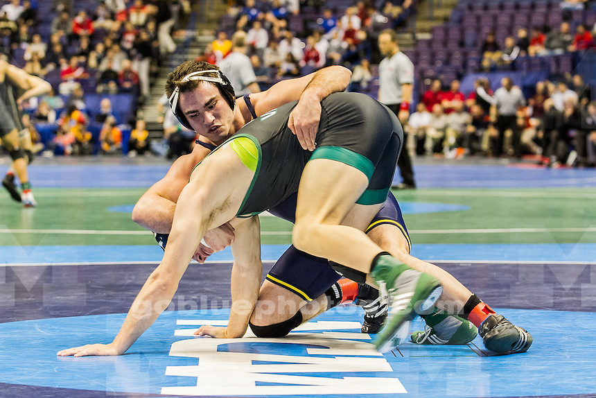 Michigan wrestlers compete at the 2015 NCAA championships at the Scottrade Center, St Louis, MO, March 19, 2015.