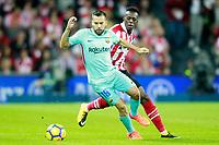 Athletic de Bilbao's Inaki Williams (r) and FC Barcelona's Jordi Alba during La Liga match. October 28,2017. (ALTERPHOTOS/Acero) /NortePhoto.com