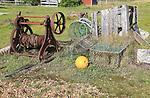 Old rusty fishing winch and abandoned  equipment, Shingle Street, Suffolk, England, Uk