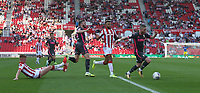 Leeds United's Adam Forshaw (right) and Stuart Dallas attack the Stoke City defence<br /> <br /> Photographer Stephen White/CameraSport<br /> <br /> The Premier League - Stoke City v Leeds United - Saturday August 24th 2019 - bet365 Stadium - Stoke-on-Trent<br /> <br /> World Copyright © 2019 CameraSport. All rights reserved. 43 Linden Ave. Countesthorpe. Leicester. England. LE8 5PG - Tel: +44 (0) 116 277 4147 - admin@camerasport.com - www.camerasport.com