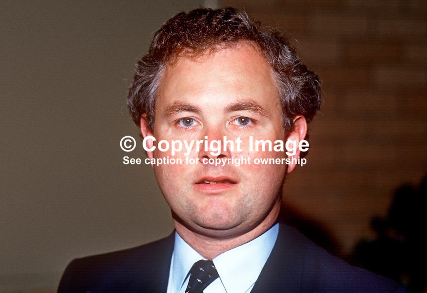 Keith Best, MP, Conservative Party, Ynes Mon, Wales, UK, taken annual conference, September 1986. 19861002KB<br />