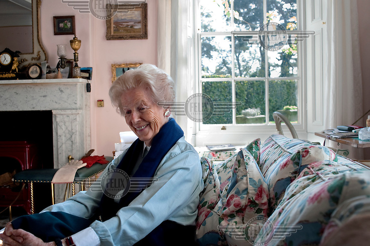 The Duchess of Devonshire at her home in the village of Edensor, Derbyshire.