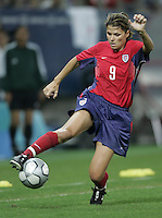 26 August 2004: Mia Hamm in action during the Gold Medal game against Brazil at Karaiskaki Stadium in Athens, Greece.   USA defeated Brazil, 2-1 in overtime.   Credit: Michael Pimentel / ISI.