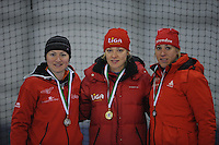 SCHAATSEN: GRONINGEN: Sportcentrum Kardinge, 03-02-2013, Seizoen 2012-2013, Gruno Bokaal, podium 500m Dames, Imke Vormeer, Yvonne Nauta, Jorien Voorhuis, ©foto Martin de Jong