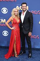 15 April 2018 - Las Vegas, NV -  Caroline Boyer, Luke Bryan.  2018 ACM Awards arrivals at MGM Grand Garden Arena. <br /> CAP/ADM/MJT<br /> &copy; MJT/ADM/Capital Pictures