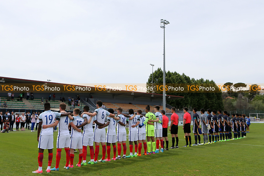 England U18's wear black armbands as a mark of respect to the victims of the terror attack in London last night during Japan Under-20 vs England Under-18, Toulon Tournament Football at Stade de Lattre-de-Tassigny on 4th June 2017