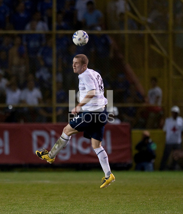 Michael Bradley heads the ball during FIFA World Cup qualifier against El Salvador. USA tied El Salvador 2-2 at Estadio Cuscatlán Stadium in El Salvador on March 28, 2009.