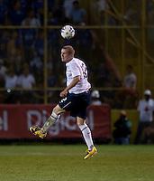 Michael Bradley heads the ball during FIFA World Cup qualifier against El Salvador. USA tied El Salvador 2-2 at Estadio Cuscatlán Stadium in El Salvador on March 28, 2009.