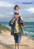 Marcello, MASCULIN, MÄNNLICH, MASCULINO, paintings+++++,ITMCEDM1068,#M# father,son,beach ,everyday
