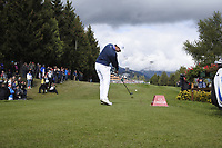 Matthew Fitzpatrick (ENG) tees off the 18th tee during Sunday's Final Round of the 2017 Omega European Masters held at Golf Club Crans-Sur-Sierre, Crans Montana, Switzerland. 10th September 2017.<br /> Picture: Eoin Clarke | Golffile<br /> <br /> <br /> All photos usage must carry mandatory copyright credit (&copy; Golffile | Eoin Clarke)