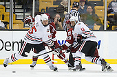 Brodie Reid (Northeastern - 15), Pier-Olivier Michaud (Harvard - 39), Justin Daniels (Northeastern - 11) - The Northeastern University Huskies defeated the Harvard University Crimson 4-0 in their Beanpot opener on Monday, February 7, 2011, at TD Garden in Boston, Massachusetts.