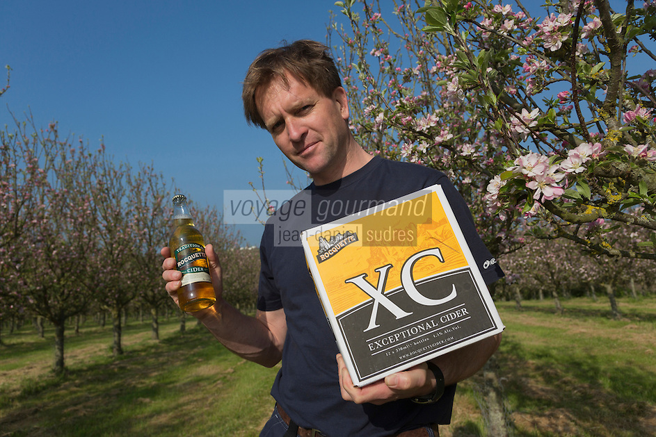 Royaume-Uni, îles Anglo-Normandes, île de Guernesey, Castel: James Meller, propriétaire et producteur du cidre Roquettes.  Rocquette Cider Co. Ltd. Les Fauxquets de Haut// United Kingdom, Channel Islands, Guernsey island, Castel: James Meller, Rocquette Cider Co. Ltd. Les Fauxquets de Haut