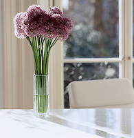 A vase of aliums on the desk designed by Piero Lissoni