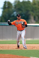 Baltimore Orioles Jomar Reyes (70) throws to first base during an Instructional League game against the New York Yankees on September 23, 2017 at the Yankees Minor League Complex in Tampa, Florida.  (Mike Janes/Four Seam Images)