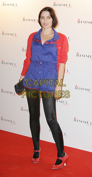 Sadie Frost.The Rimmel London party, Battersea Power Station, London, England..September 15th, 2011.full length blue red playsuit black tights mary janes shoes cardigan.CAP/WIZ.© Wizard/Capital Pictures.