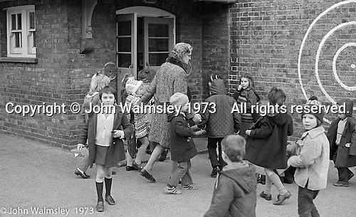 Coming in at the end of playtime, Darell Road Primary School, London.  1973