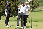 Darae Chung gets a hug from  Angela Ju after winning the womens title. Jennian Homes Charles Tour, Carrus Open, Tauranga Golf Club, Tauranga, New Zealand, Thursday 10 October 2019. Photo John Borren/www.bwmedia.co.nz